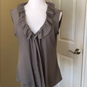 Olive Green Blouse with Ruffle Collar